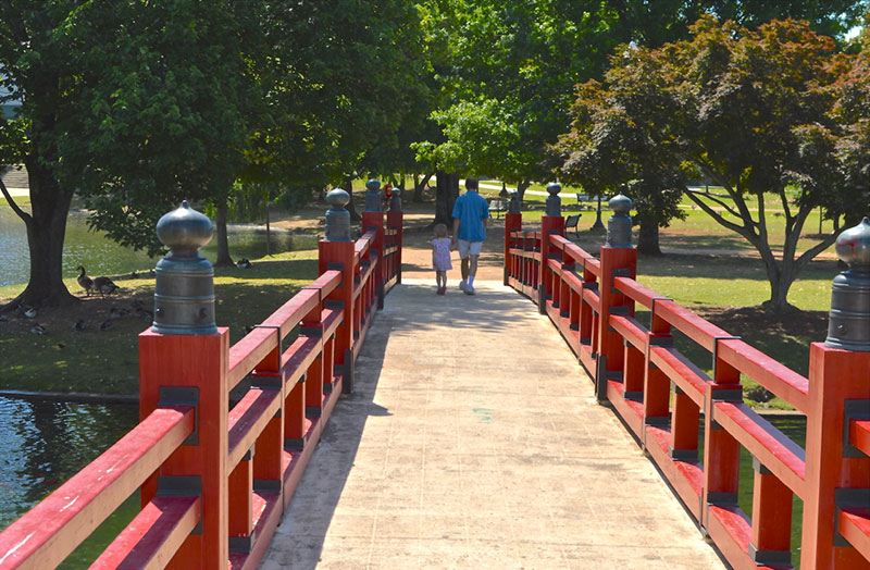 Walking the Red Bridge in Downtown Huntsville